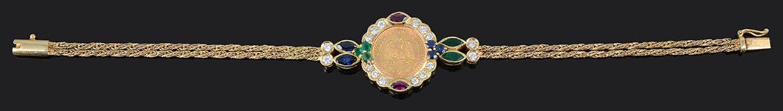 A Continental, contemporary 18ct gold gem set coin bracelet