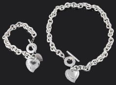 A Tiffany & Co. silver double heart tag necklace and bracelet