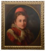 19th Century Continental School 'Portrait of a girl wearing a red hat'