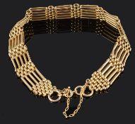 A delicate 15ct gold five bar gate bracelet