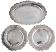 A set of three early 20th century Italian .800 silver serving dishes
