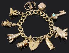 An 18ct gold curb link charm bracelet