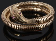 A Victorian style 9ct gold coiled sprung snake bracelet