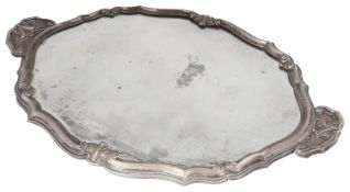 An early 20th century .800 silver mounted wooden twin handled mirror tray