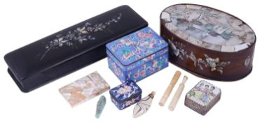 A 19th century Chinese export rosewood and mother of pearl oval box and other items