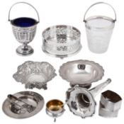 A collection of Victorian and later silver and silver plated items