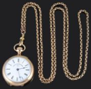 An American 10k gold top wind open faced ladies Waltham pocket watch; one other