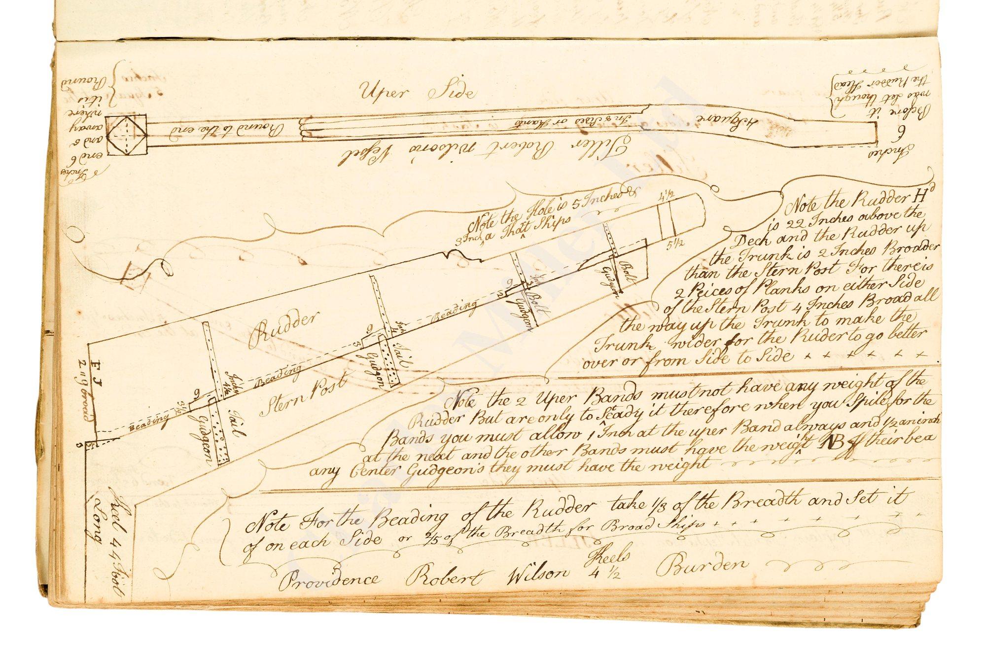 A MERCHANT SHIPBUILDER'S MANUSCRIPT DESIGN BOOK, CIRCA 1785 - Image 4 of 4