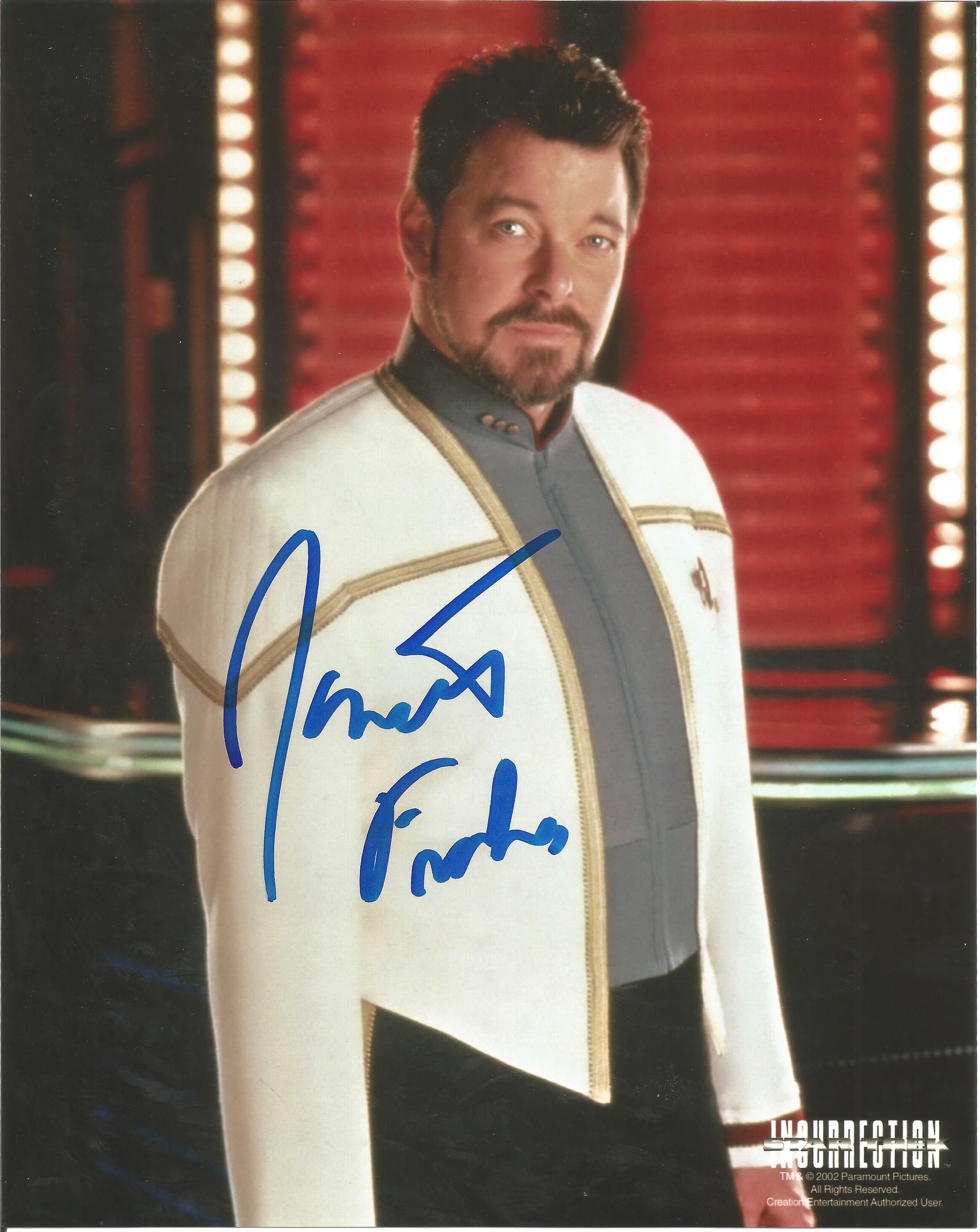 Jonathan Frakes Star Trek hand signed 10x8 photo  This beautiful