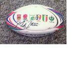 Lot 33 - Rugby Union Martin Johnson signed Six nations Patrick miniature rugby ball. Martin Osborne Johnson