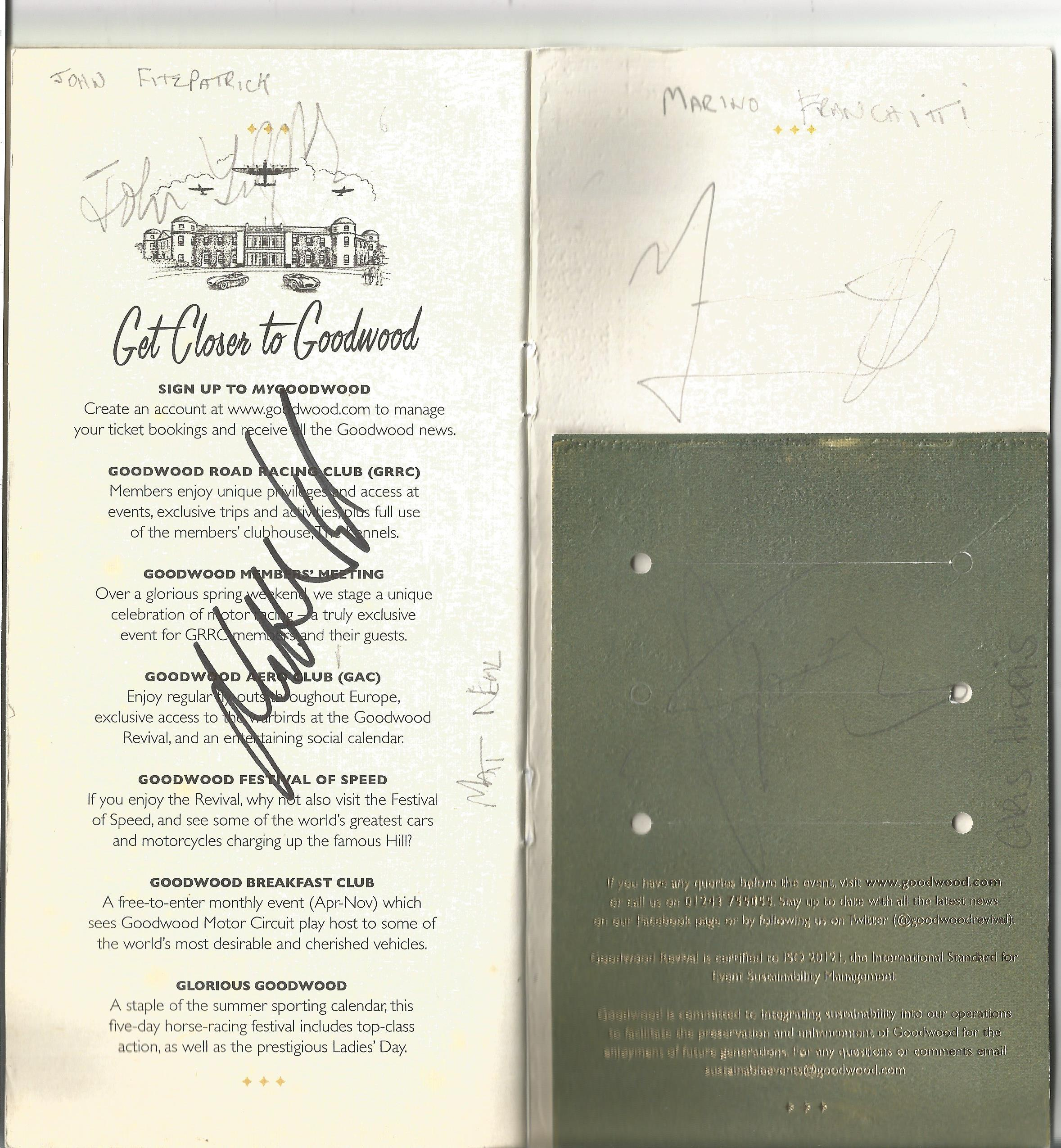 Lot 40 - Motor Racing Goodwood Revival Meeting programme 2017 signed by 14, drivers who took part includes