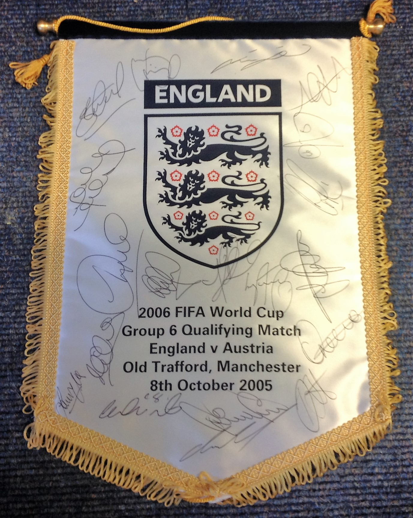 Lot 55 - Football England commemorative pennant England v Austria Old Trafford 8th October 2005 signed by