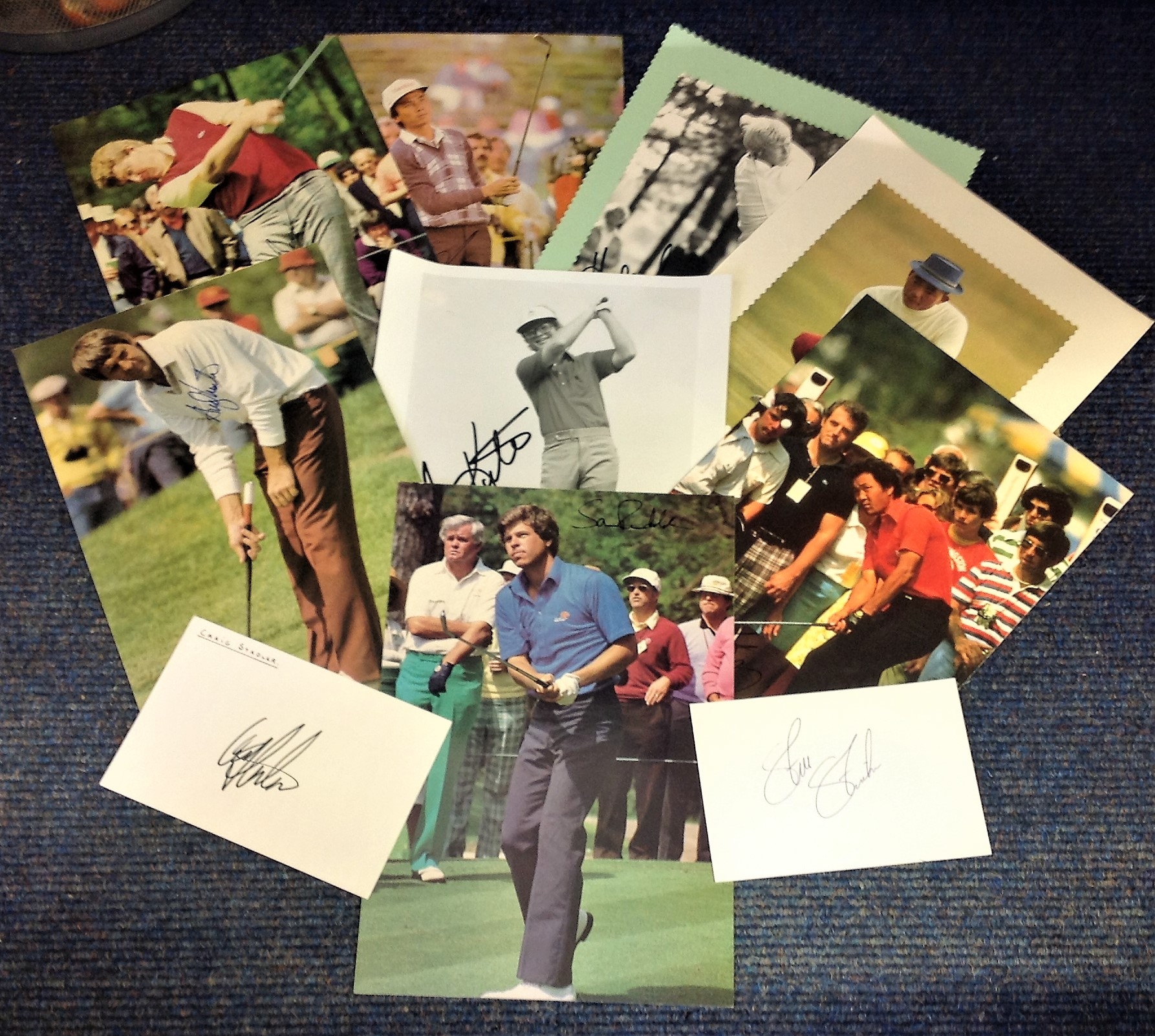 Lot 2 - Golf collection 10 signed photos and signature pieces from some legendary names from the game