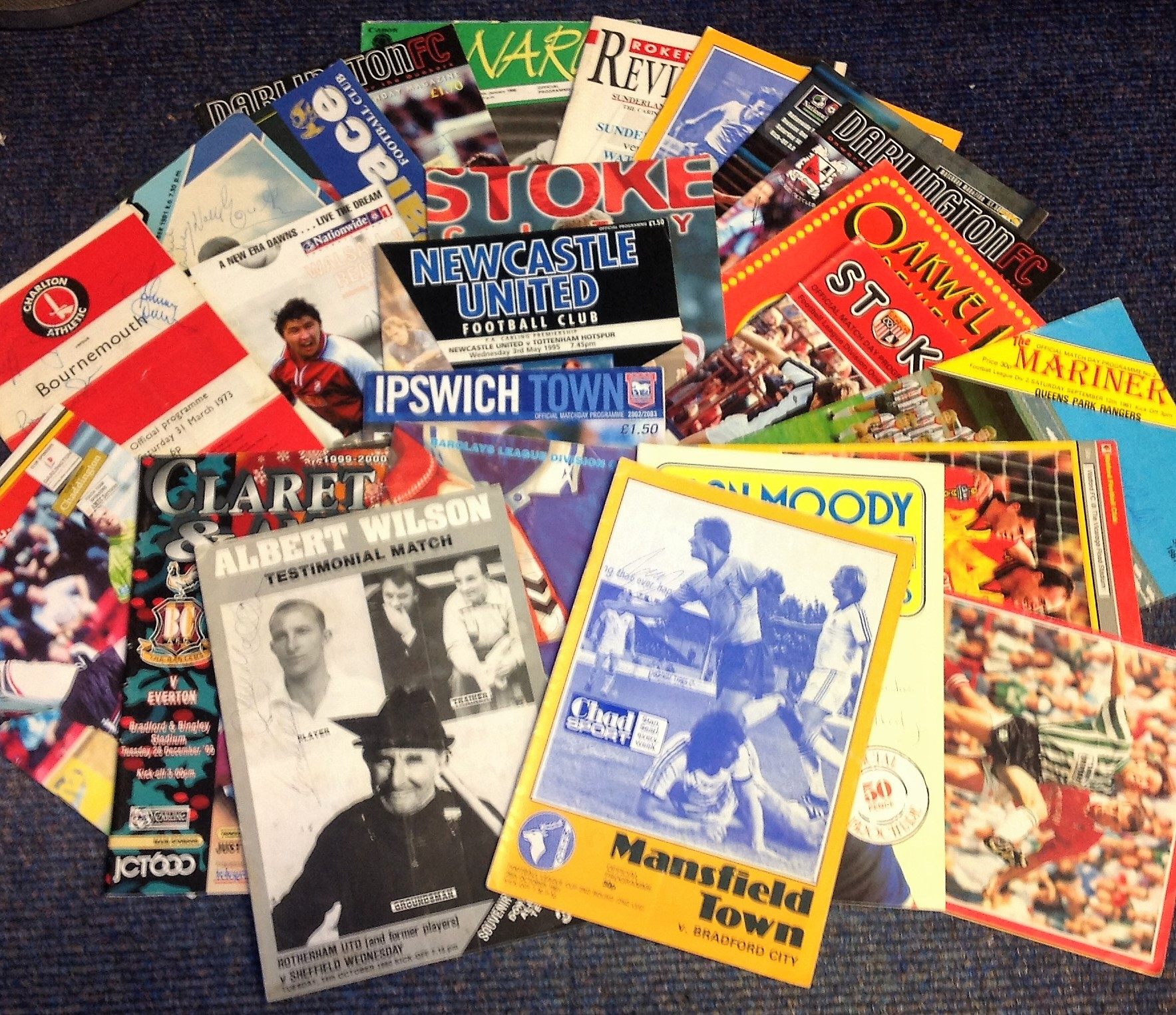 Lot 6 - Football programme collection over 20 from around the leagues signatures include Gordon Banks, Danny