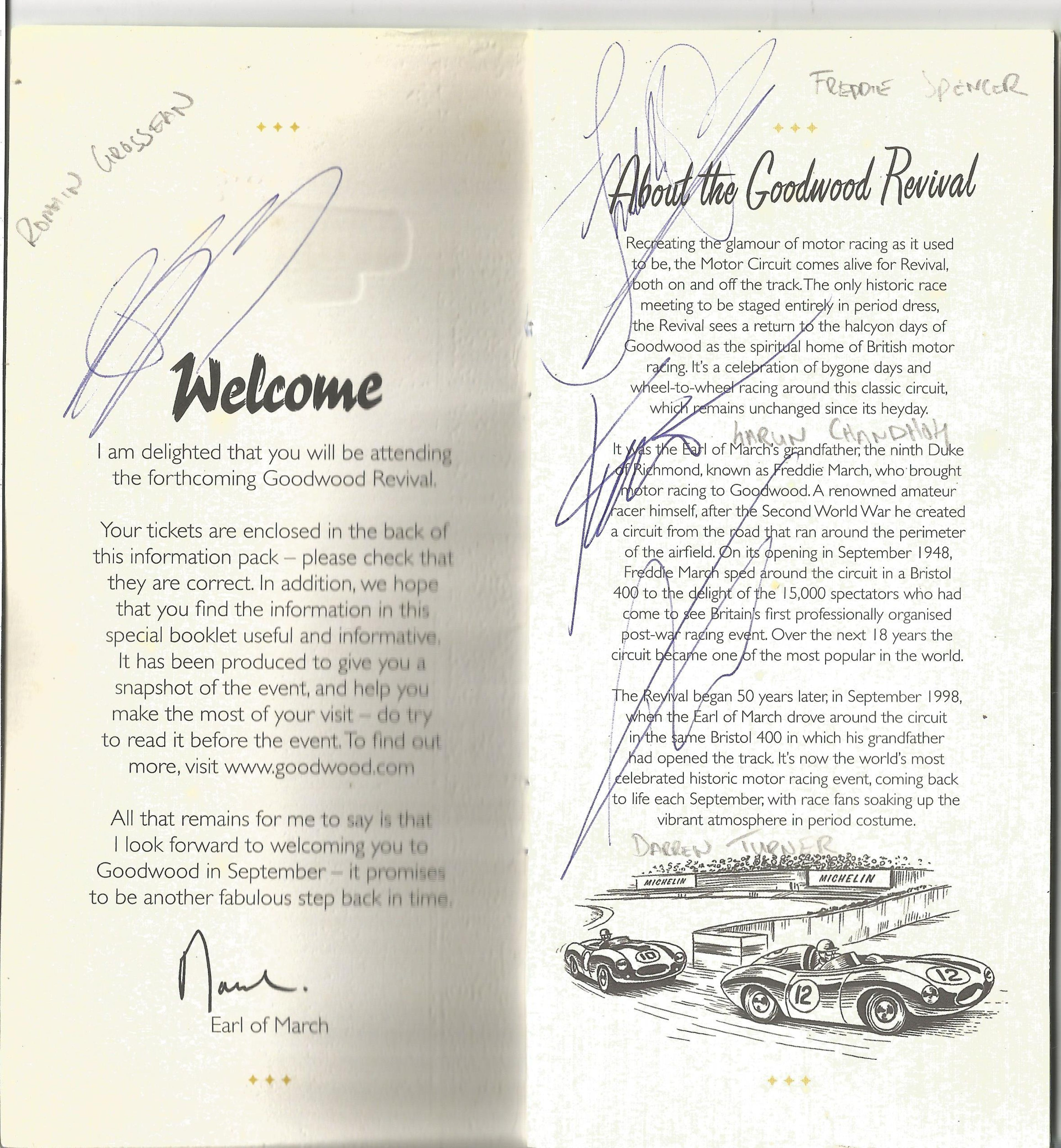 Lot 41 - Motor Racing Goodwood Revival Meeting programme 2018 signed by 34 drivers who took part signatures