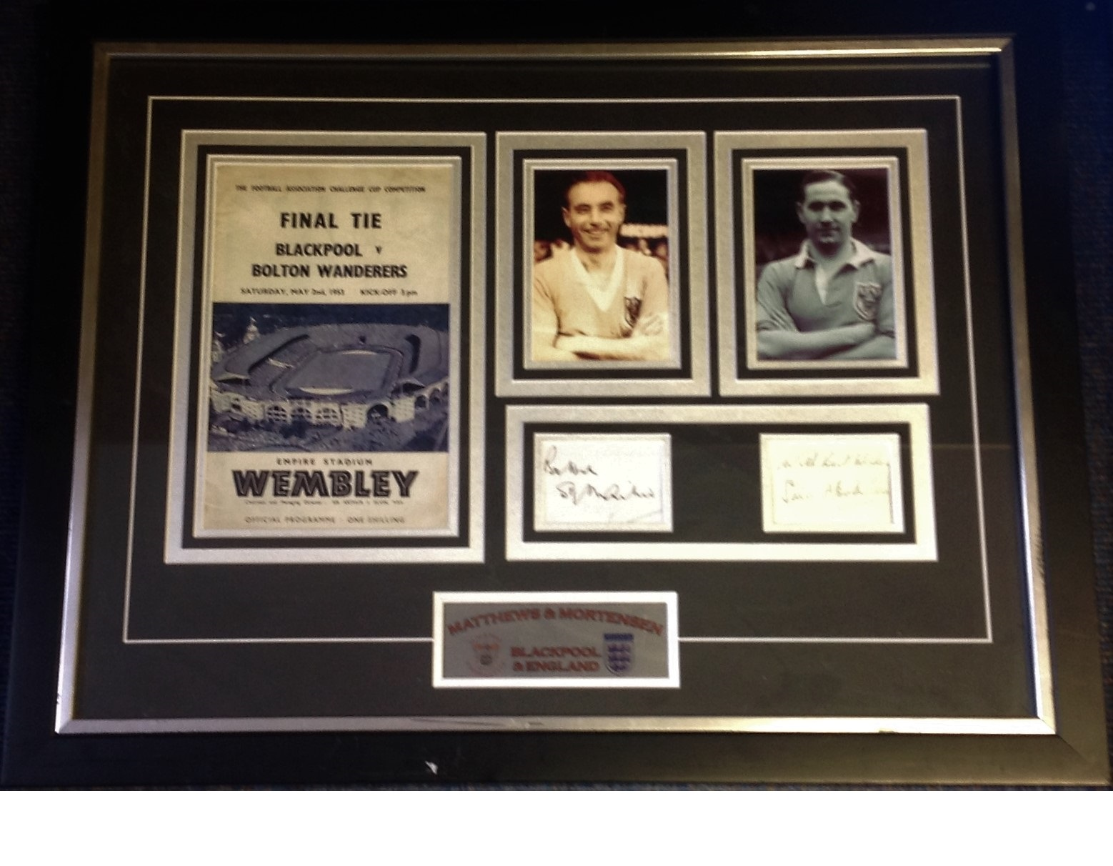 Lot 42 - Football Stanley Mathews and Stan Mortensen 22x28 mounted and framed signature piece includes