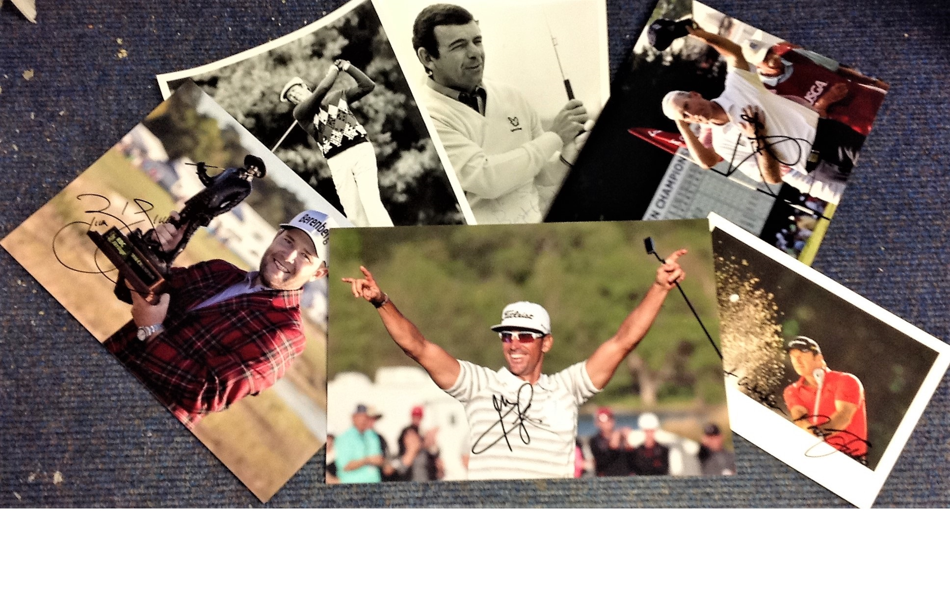 Lot 23 - Golf collection 6 colour and b/w photos from some well-known players from Europe and the USA