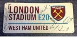 Lot 53 - Football West Ham United London Stadium E20 road sign signed by 7 members of the current squad