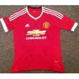 Lot 36 - Football Manchester United signed replica home shirt signed by twelve United players past and