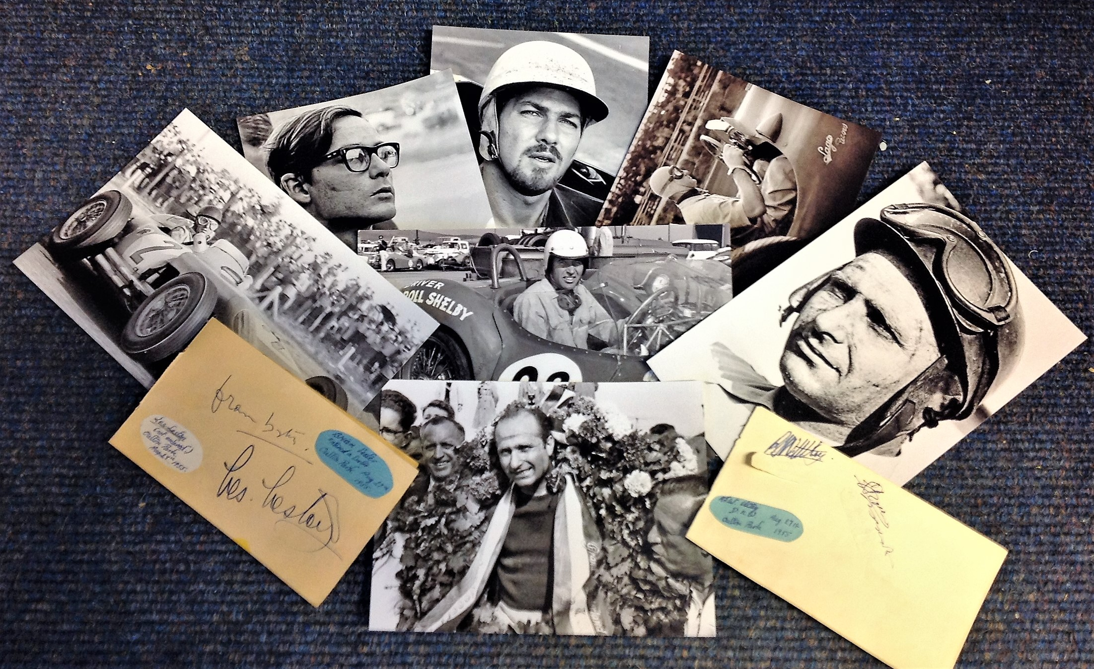 Lot 8 - Motor Racing collection includes 7 unsigned b/w photos pictured legends such as Fangio, Carroll