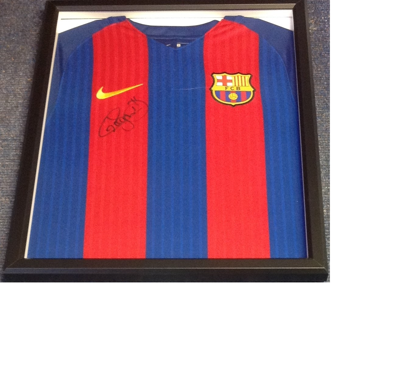 Lot 26 - Football Neymar JR 21x17 overall framed and mounted Barcelona shirt. Neymar da Silva Santos