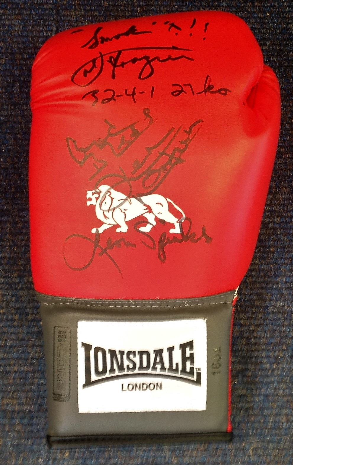 Lot 39 - Boxing Lonsdale Glove signed by three heavyweight champions Smokin Joe Frazier, Ken Norton and