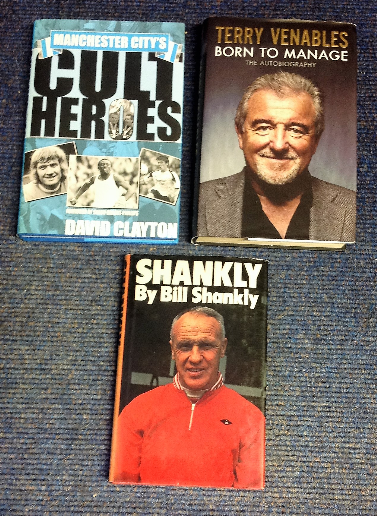 Lot 10 - Football collection 3, unsigned hardback books titles included are Manchester Citys cult heroes by