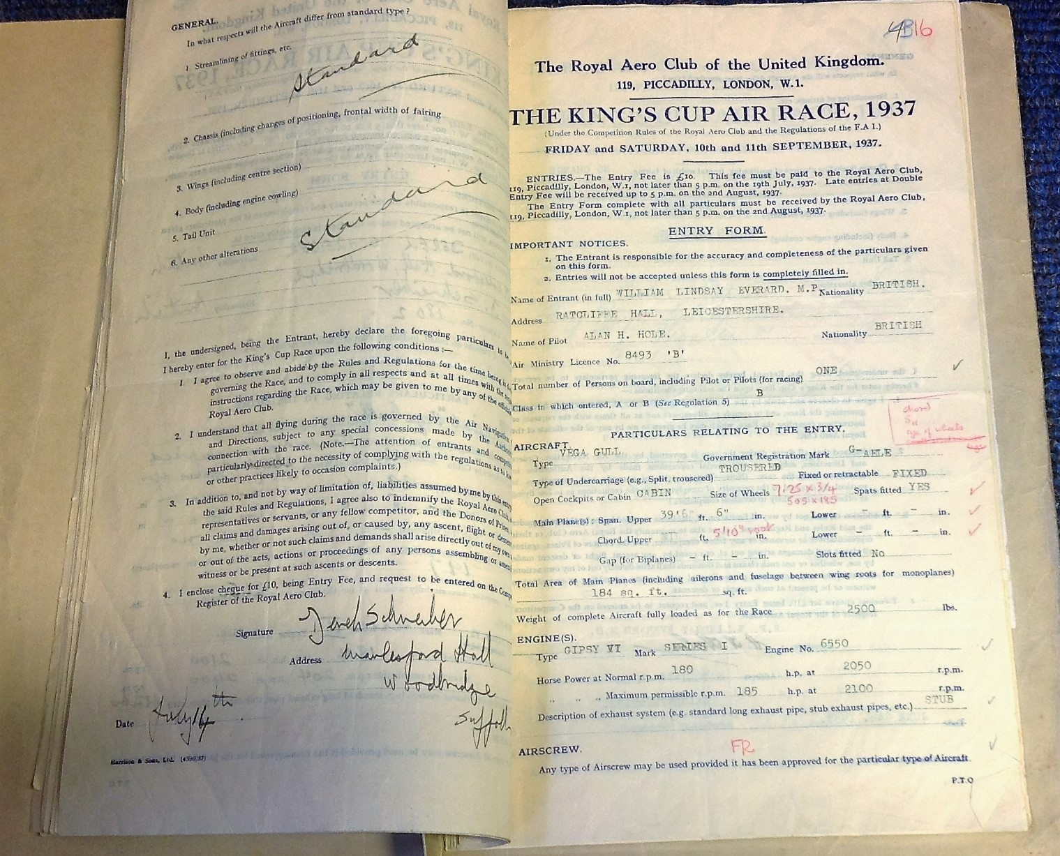 Lot 30 - 1937 Kings Cup Air Race Archive historic collection set of all 31 original Competition entry forms