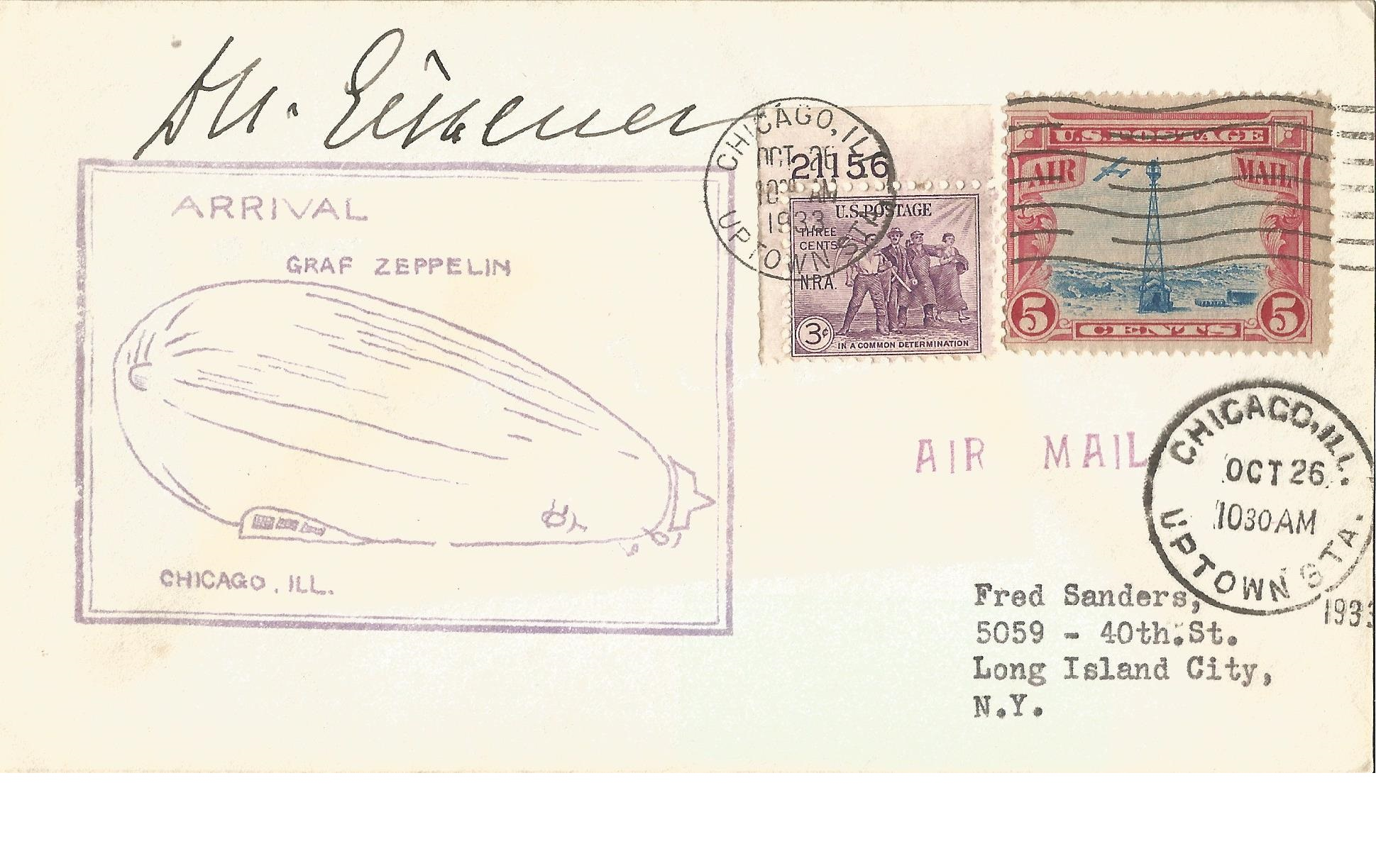 Lot 37 - Dr. Hugo Eckener Zeppelin legend signed 1933 Graz Zeppelin arrival in Chicago cover, with 26/10/33