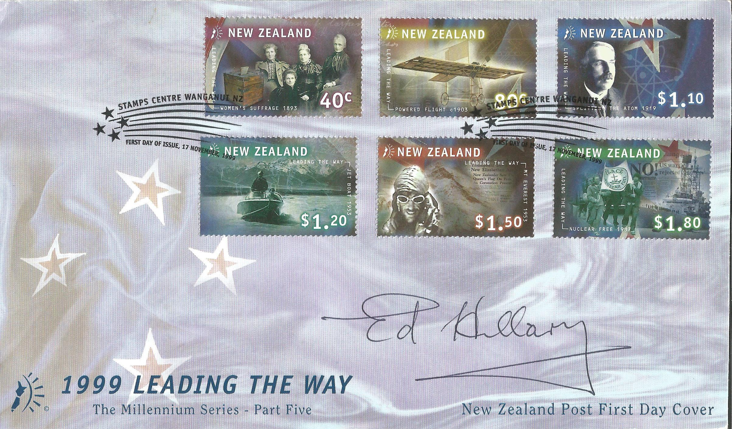 Lot 36 - Sir Edmund Hillary signed 1999 New Zealand leading the way FDC. One of the stamps features Hillary's