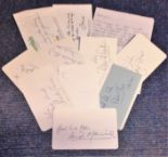 Lot 12 - Emmerdale signed collection. 10 signed pages. Some of names included are Fraser Hines, Stan