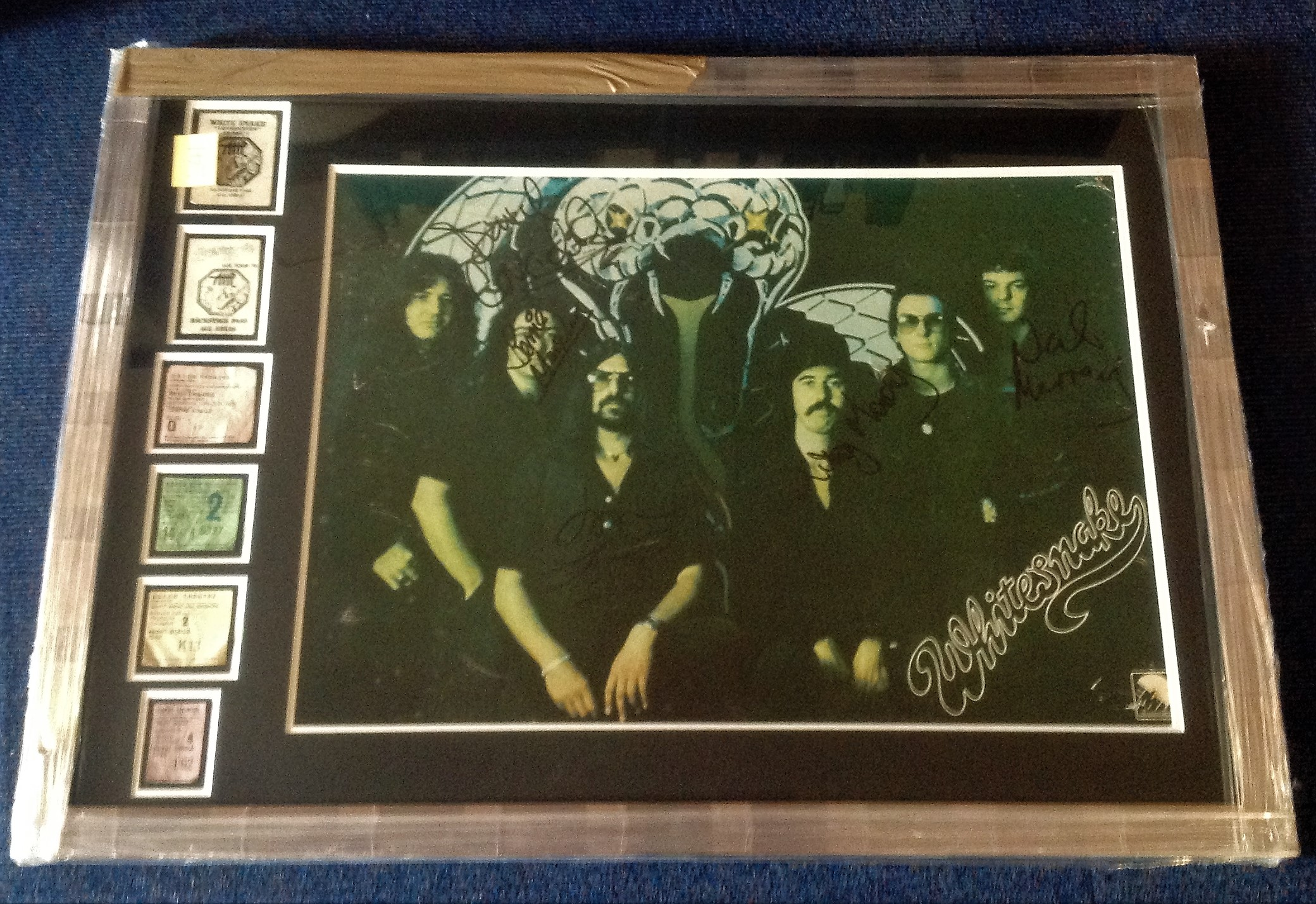Lot 45 - Rare Whitesnake signed poster from their debut tour with John Lord. Signed by five including David