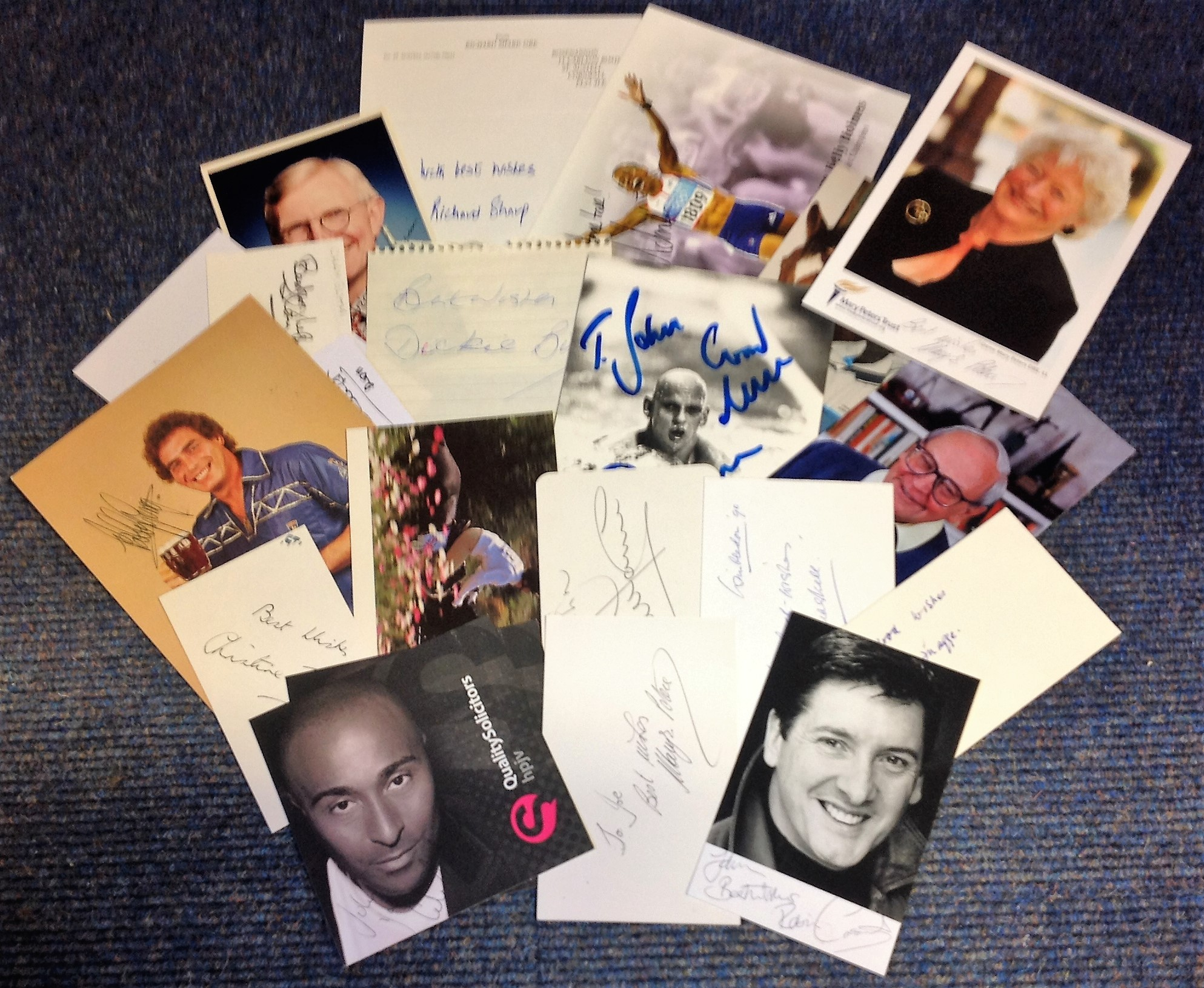 Lot 16 - Sport collection. 21 items, assortment of photos and signature pieces. Some of names included are