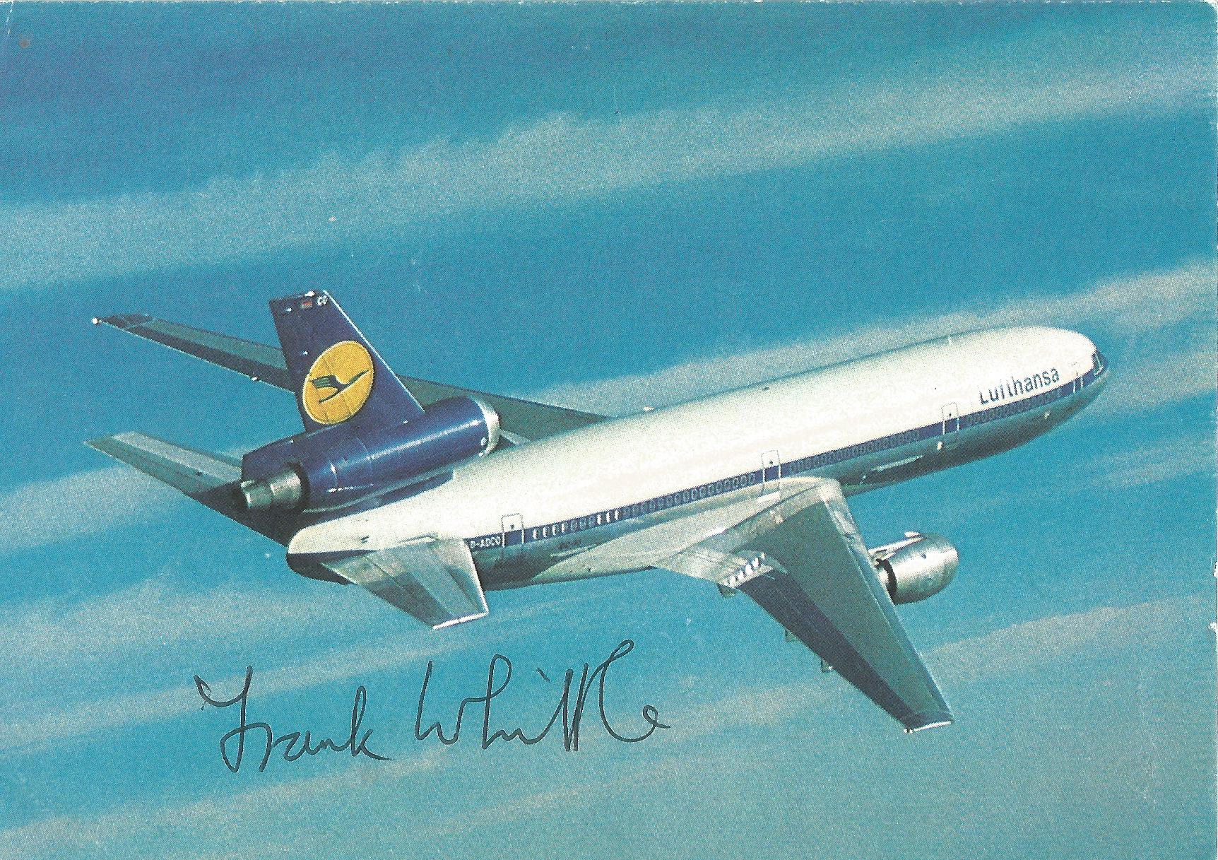 Lot 38 - Frank Whittle Jet Engine designer signed 6 x 4 colour DC10 in flight postcard. Good Condition. All