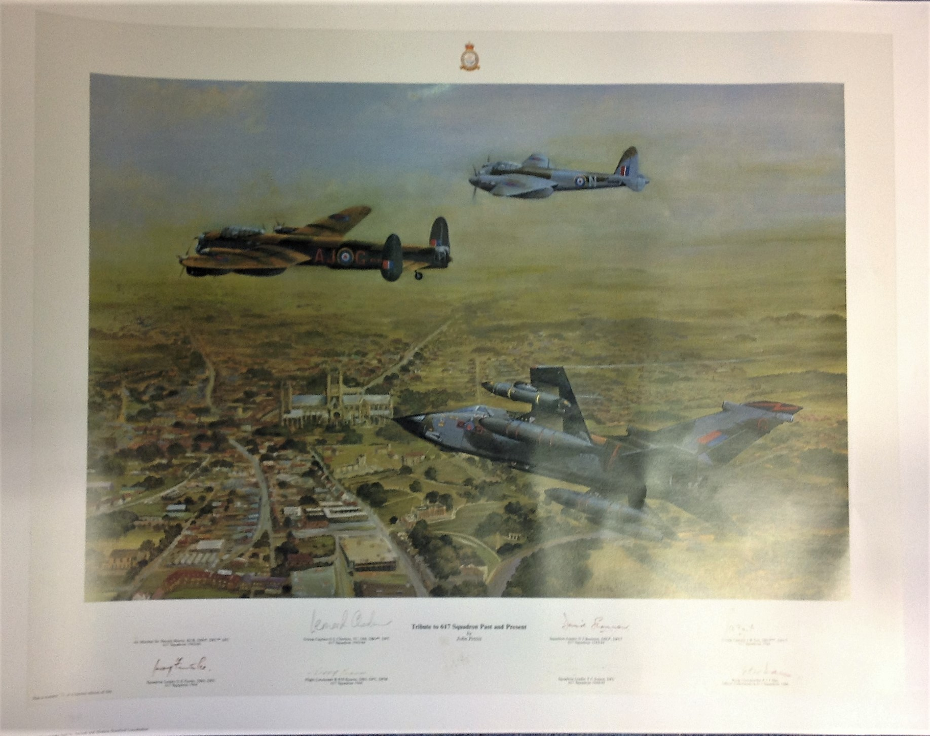 Lot 56 - Dambuster World War Two print 24x30 titled Tribute to 617 Squadron Past and Present by the artist