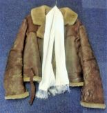 Lot 51 - Tirpitz raider WW2 RAF bomber Leather flight Jacket and white silk scarf owned by Warrant Officer