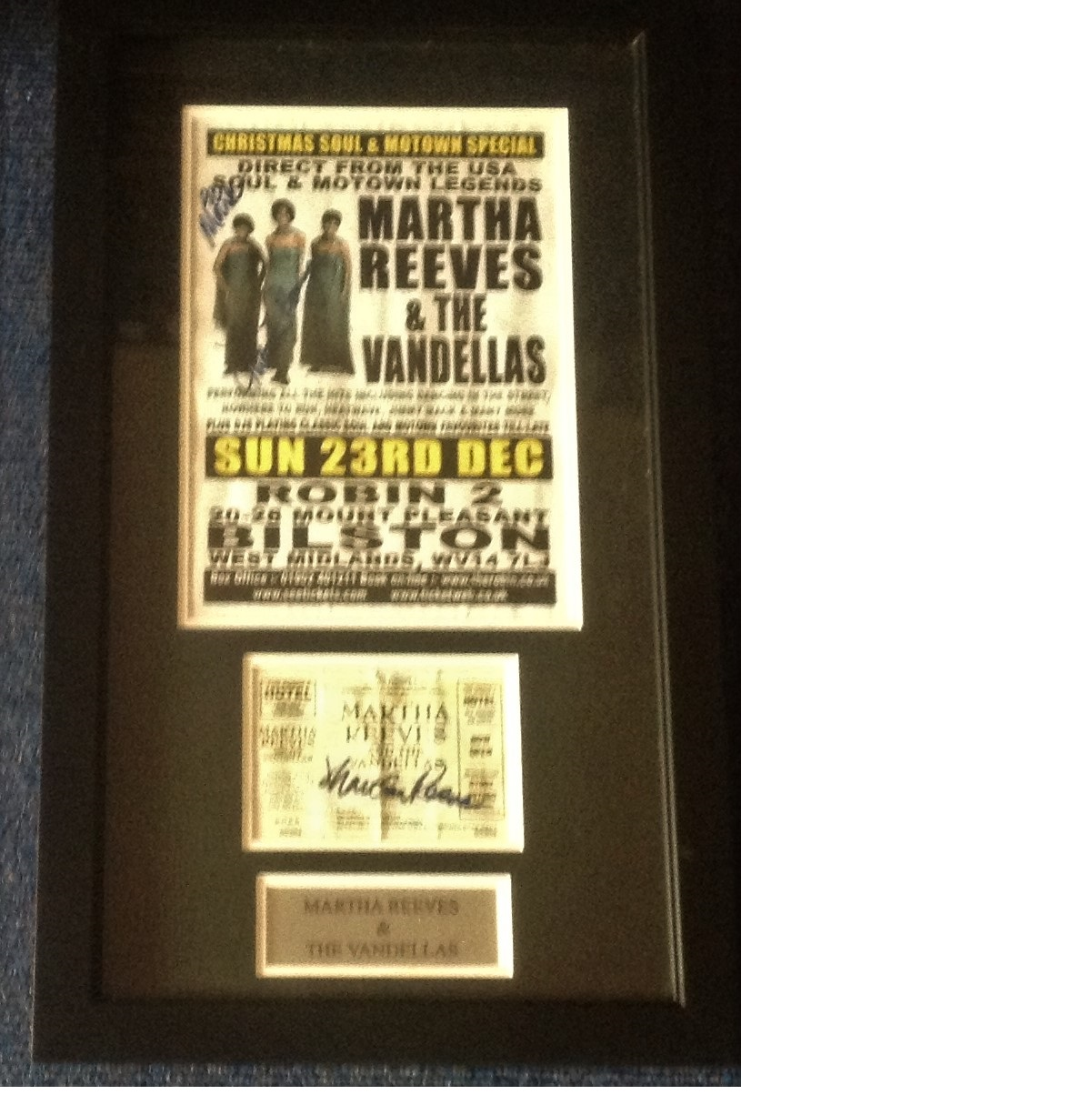 Lot 43 - Martha Reeves and the Vandellas signed poster and concert ticket autographed back stage at one of