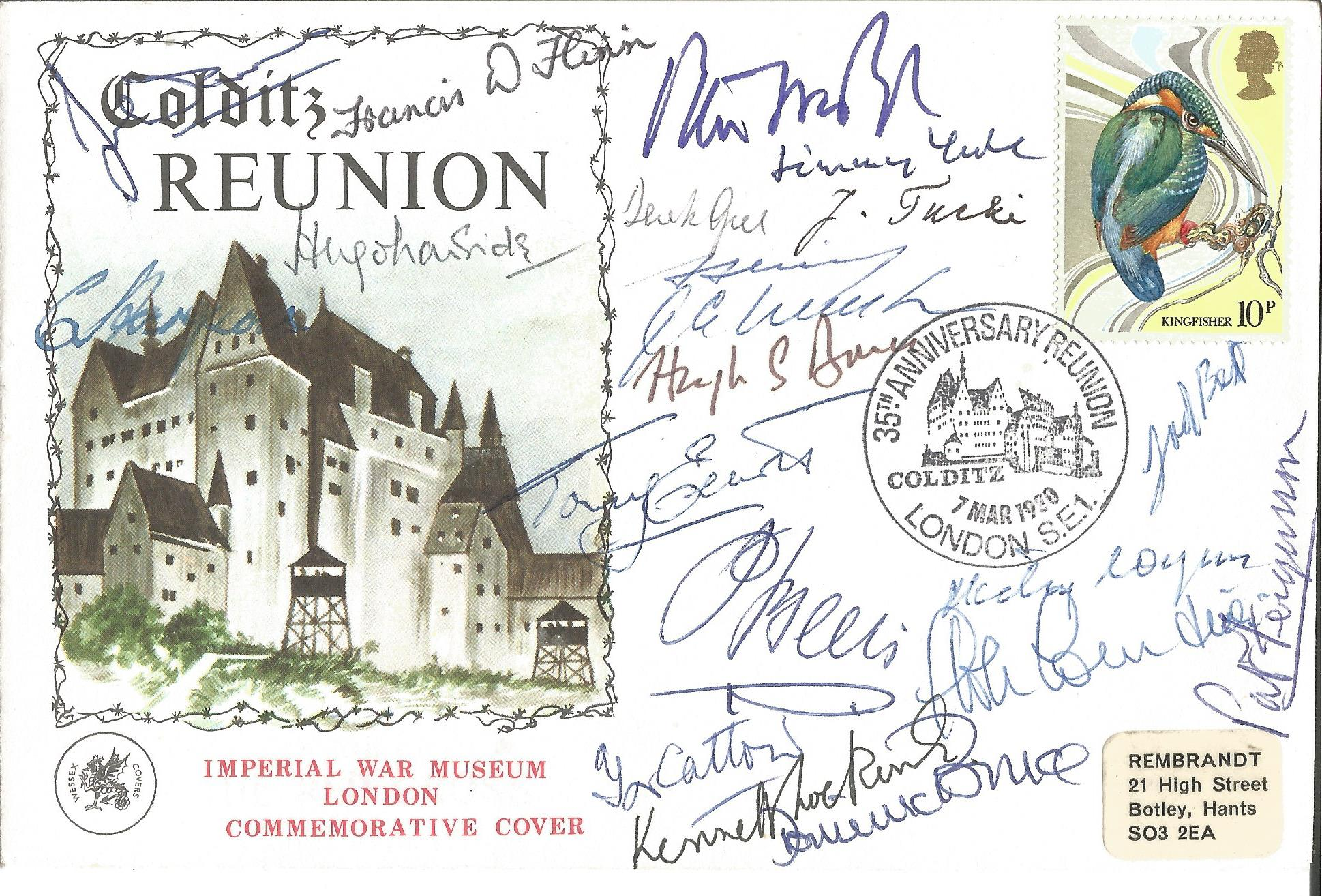 Lot 39 - Colditz Castle Reunion cover signed by an amazing 28 WW2 inmates. Includes Mike Moran, Francis