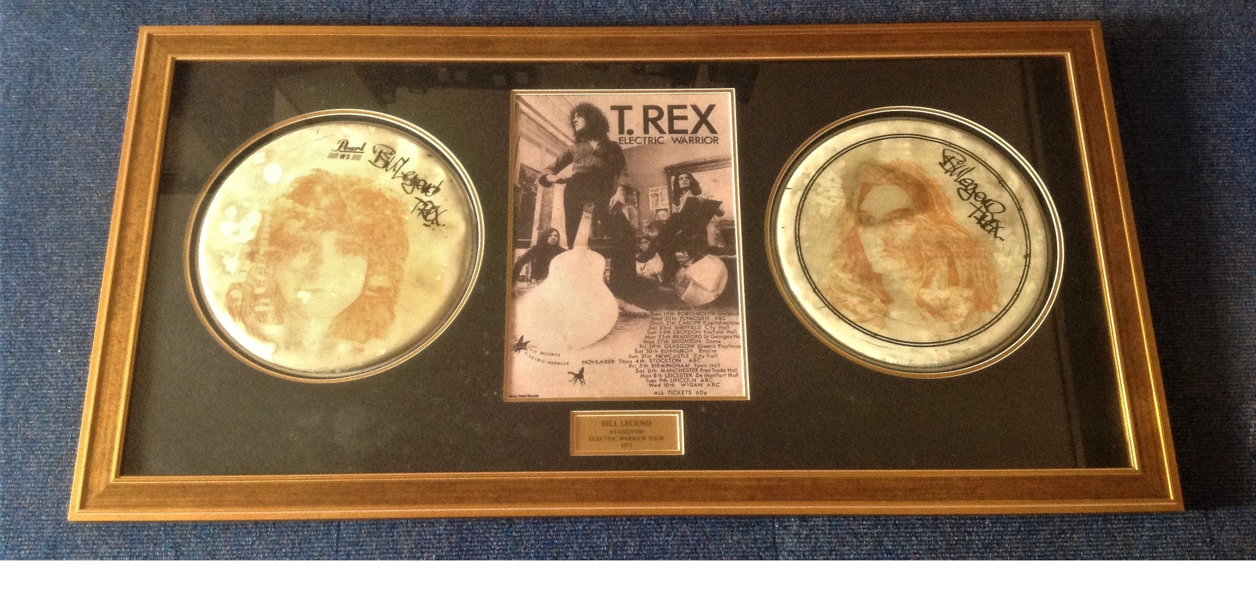 Lot 49 - T Rex autographed Drum skins. Pair of 13 inch Pearl drumskins featuring printed psychedelic