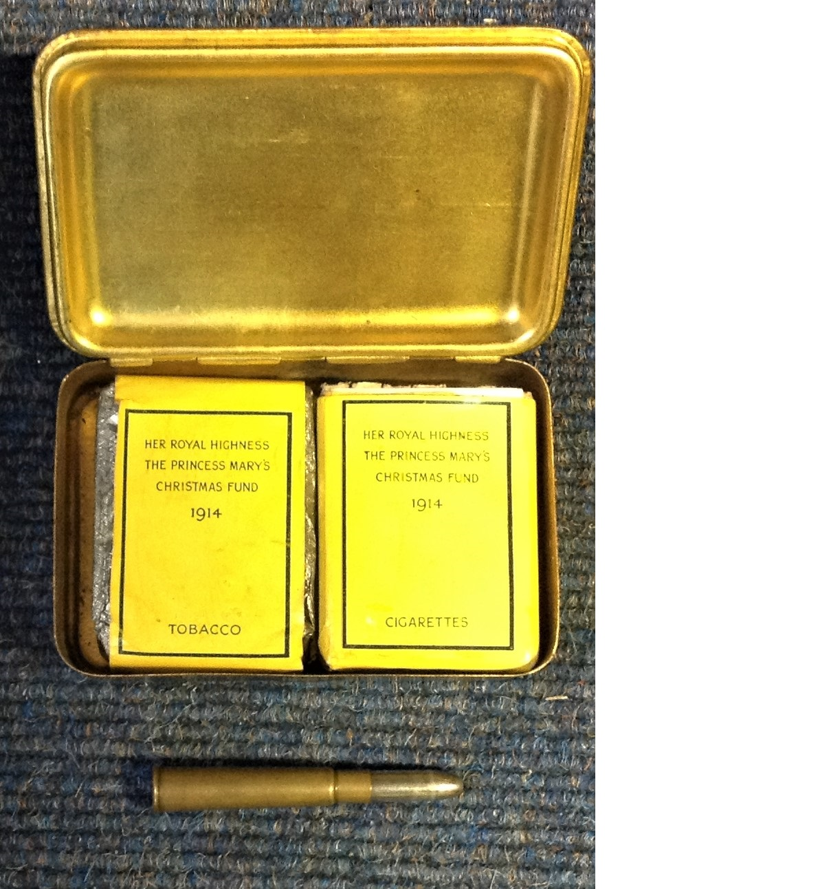 Lot 28 - Princess Mary brass gift box, given to troops during WWI in 1914. Rare with complete original