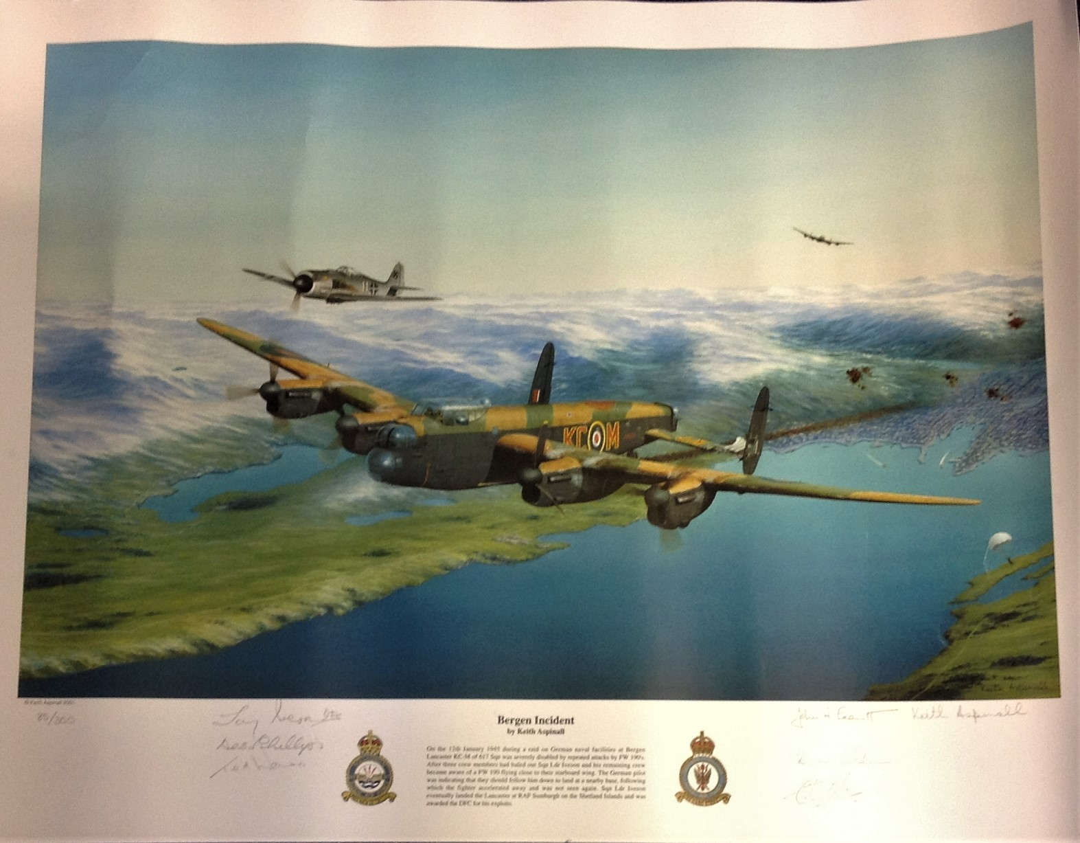 Lot 59 - World War Two print 22x17 titled Bergen Incident by the artist Keith Aspinall signed in pencil by