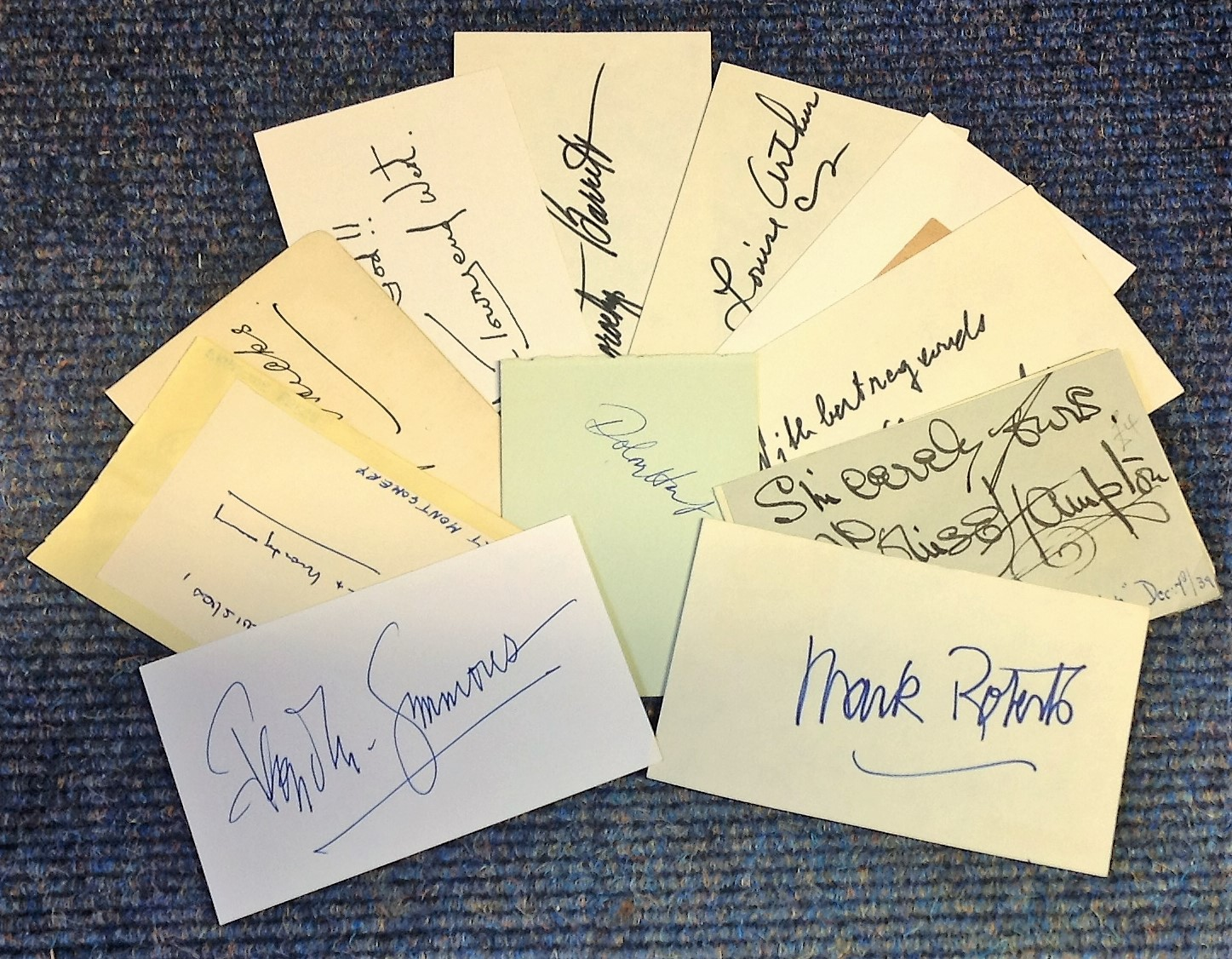 Lot 5 - Actors / Actresses signed card collection. Mark Stevens, Dorothy Barrett, Robert Montgomery,