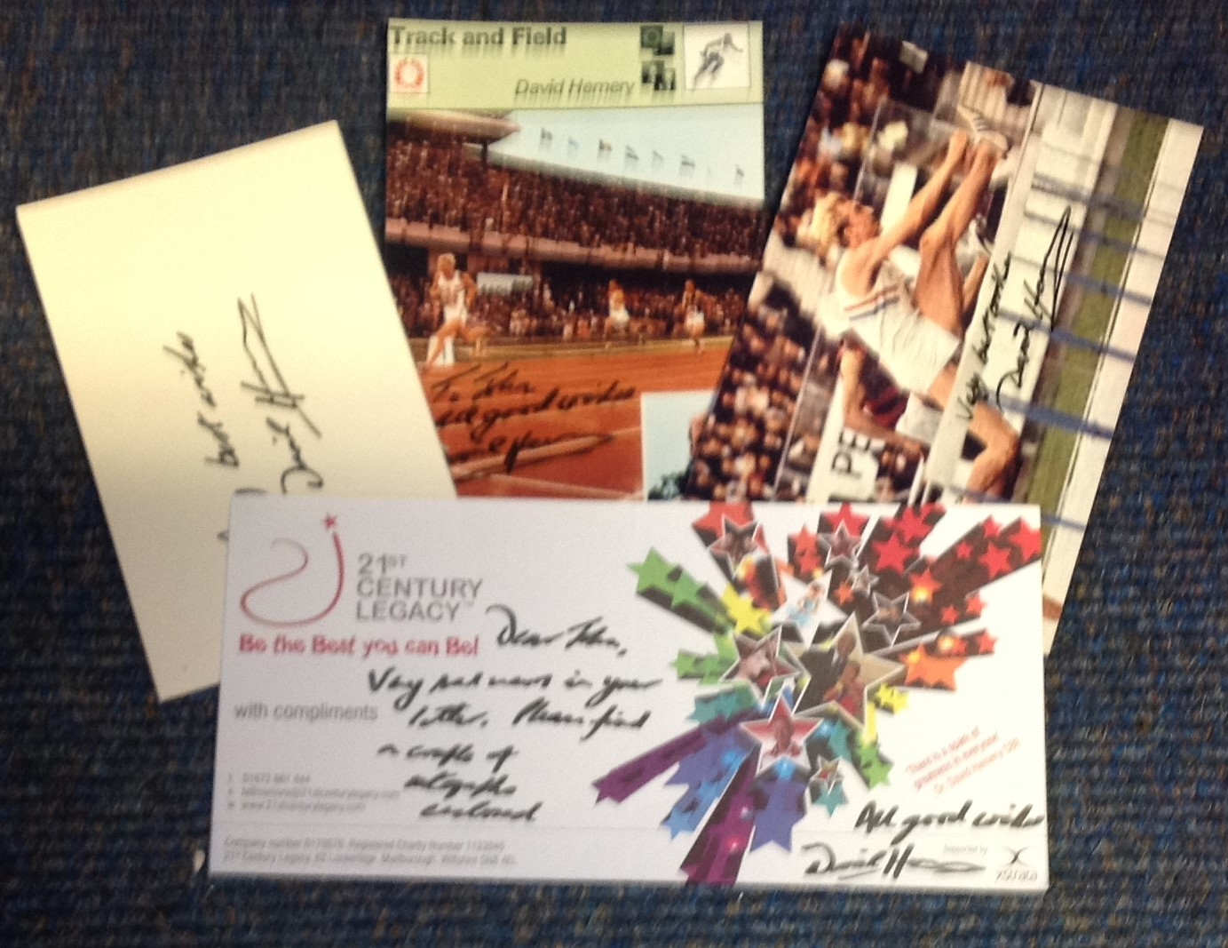 Lot 15 - David Hemery signed collection. 4 items which are 2 6x4 photos, 1 signature piece and 1 compliment