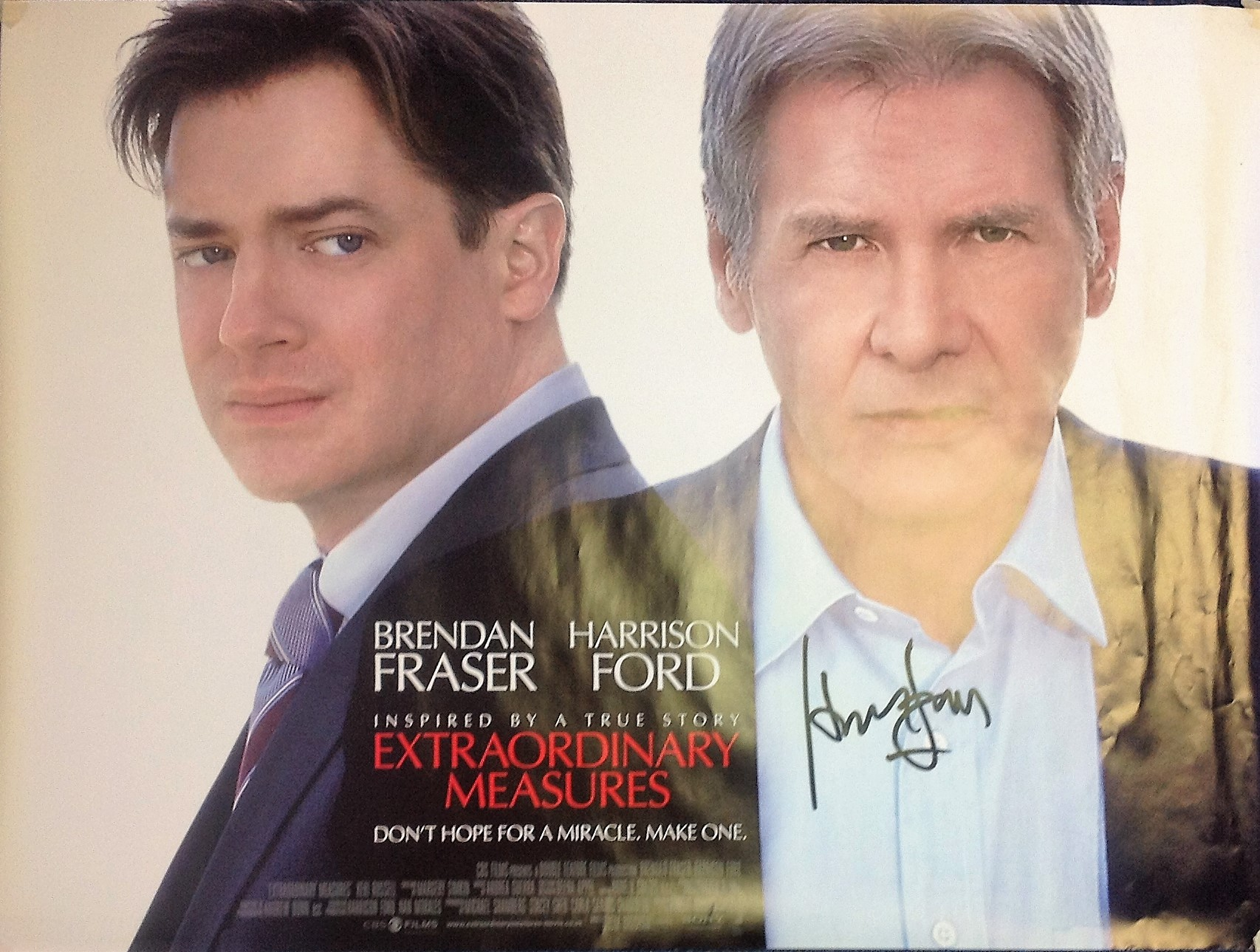 Lot 35 - Harrison Ford signed large A0 Extraordinary Measures promotional poster, signed in black marker.