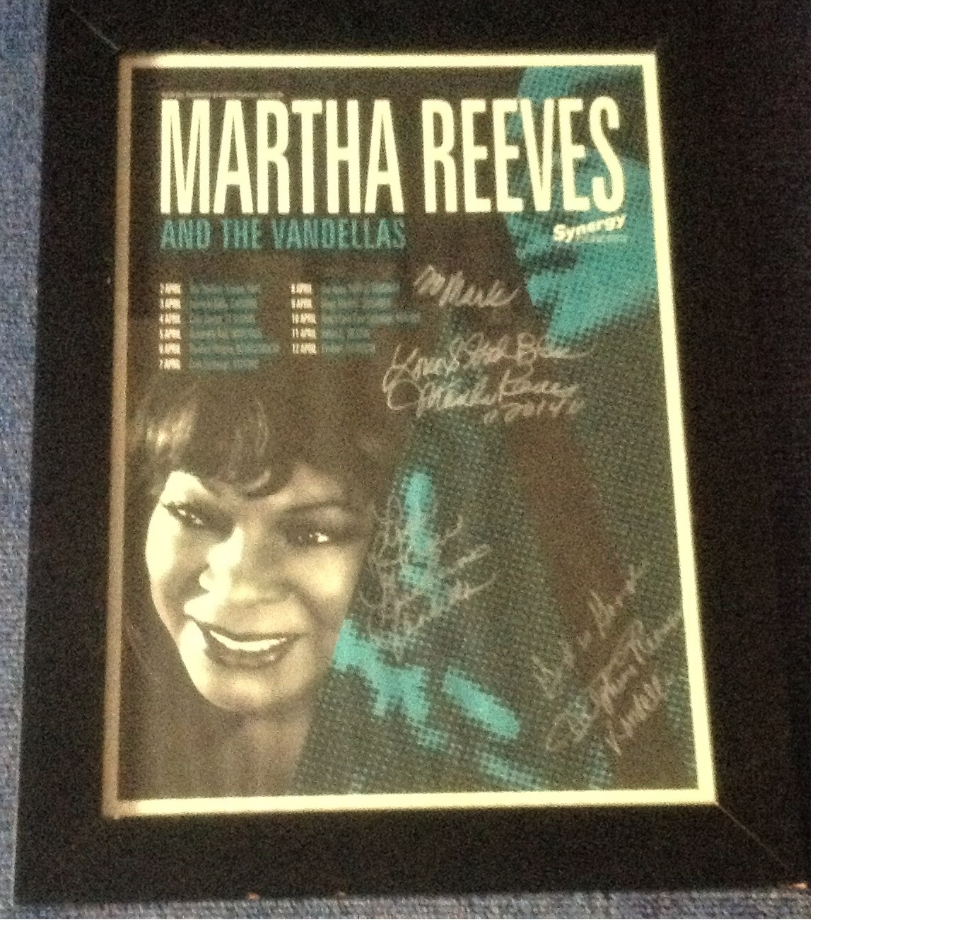Lot 44 - Martha Reeves and the Vandellas signed Synergy Green concert date poster, Martha is dedicated to