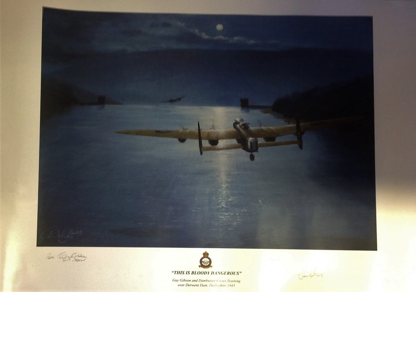 Lot 55 - Dambuster World War Two print 24x17 titled This Is Bloody Dangerous by the artist Gordon Wright