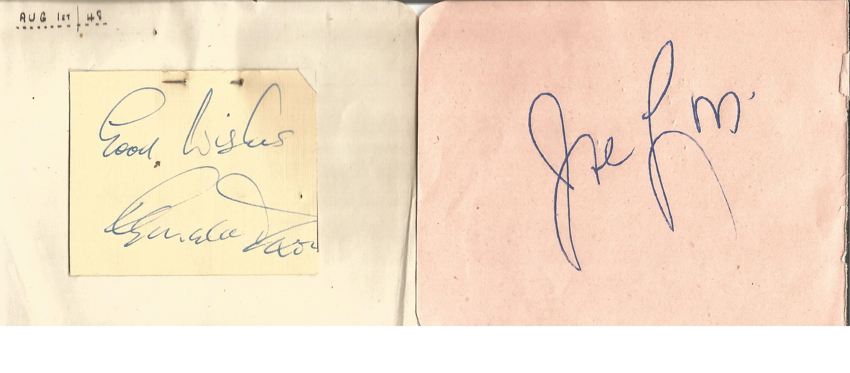 Lot 22 - Autograph book. With loose pages over 20 signatures. Some of names included are Mary Livingstone,