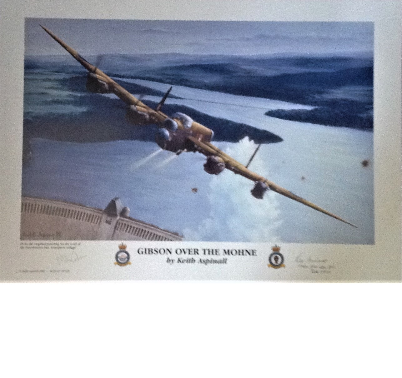 Lot 58 - Dambuster World War Two print 24x18 titled by the artist Keith Aspinall titled Gibson Over the Mohne