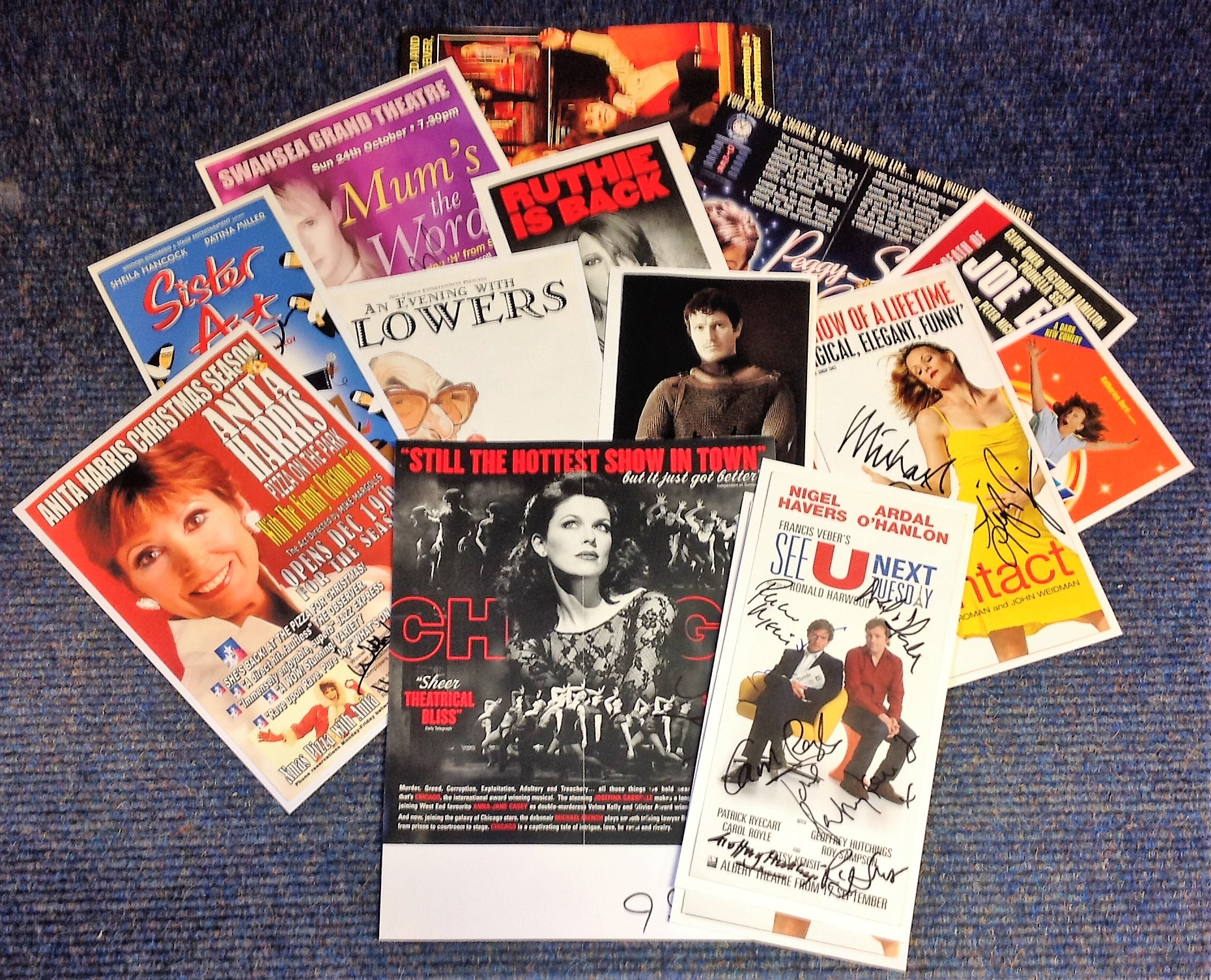 Lot 9 - Theatre flyer signed collection. 14 items. Among the signatures are Carole Royle, Geoffrey