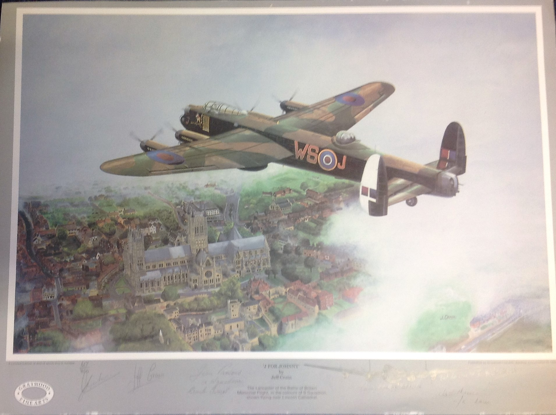 Lot 60 - World War Two print 22x16 titled J for Johnny by the artist Jeff Crain limited edition 617/850